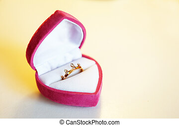 Engagement ring in a box shaped heart