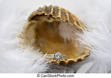 engagement ring in opened sea shell