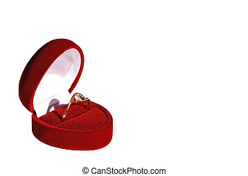 engagement ring in red box isolated on white background work...