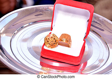 Engagement ring in the Red shiny box