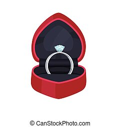 Engagement Ring in Velvet Box with Precious Stone