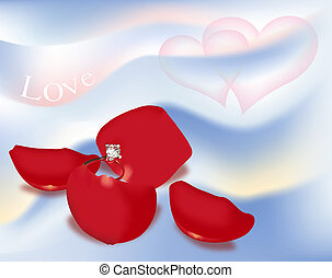 Engagement Ring on Rose Petals. Digital Illustration....