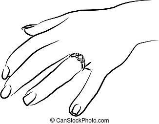 Engagement Ring - engagement ring on womans finger