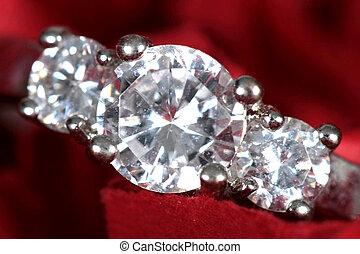Engagement Ring taken closeup on red background