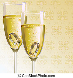 illustration of pair of engagement ring in champagne glass