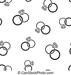 Engagement ring with diamond icon seamless pattern background. Business concept vector illustration. Wedding jewelry ring symbol pattern.