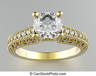 Engagement Ring with Diamond or moissanite. Jewelry ...