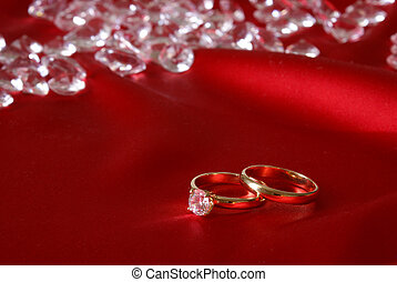 Engagement Rings - A couple of gold engagement rings with ...