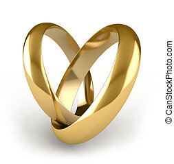 Engagement rings - 3D render of engagement rings over white...