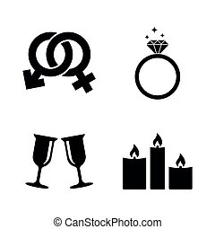 Engagement. Simple Related Vector Icons Set for Video, Mobile Apps, Web Sites, Print Projects and Your Design. Black Flat Illustration on White Background