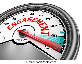 Engagement to hundred per cent conceptual meter, isolated on...