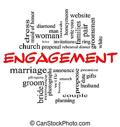 Engagement Word Cloud Concept in red caps with great terms such as diamond, ring, kiss, proposal and more.