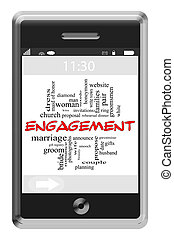 Engagement Word Cloud Concept on Touchscreen Phone