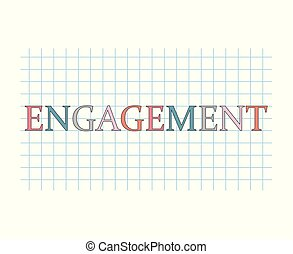 engagement word on checkered paper sheet- vector...