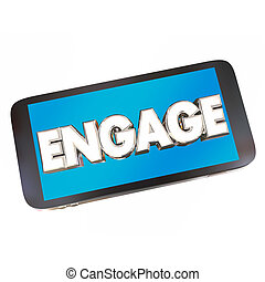 engager, mot, communiquer, illustration, téléphone portable, intelligent, 3d