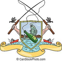 enganchar, chamarra, pez, barra, brazos, cerveza, pesca, botella, carrete, dibujo