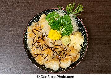engawa on topped rice bowl (donburi)