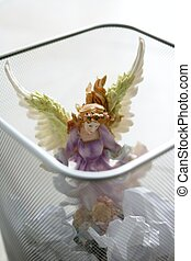 engel, afval, heilige, figuur, kantoor