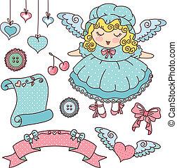 engel, en, schattig, spullen