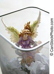 engel, figuur, kantoor, heilige, afval