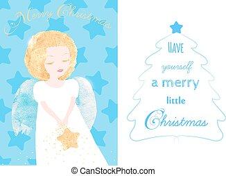 engel, kerstmis kaart, groet