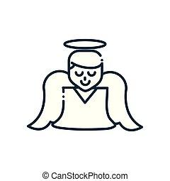 engel, lijn, kerstmis, vrolijke , pictogram