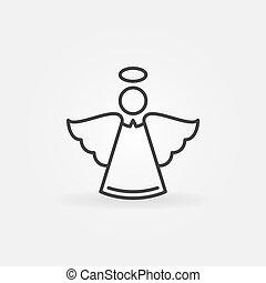engel, lijn, pictogram, -, vector, kerstmis, concept, symbool