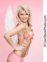 engel, meisje, in, ondergoed, en, vleugels