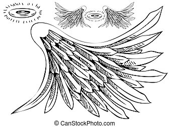 engel, set, vleugel, halo