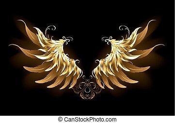 engel, skinnende, vinger