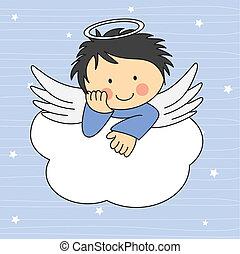 engel vinge, på, en, cloud.