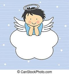 engel vinge, på, en, sky