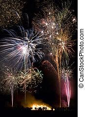 engeland, fawkes, 5, -, display, vuurwerk, nacht, kerel,...