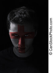engeland, geverfde, vlag, serios, kleuren, gezicht, man