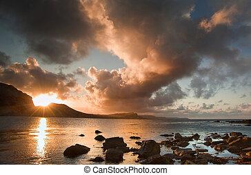 engeland, jura, baai, mupe, landscape, oceaan, kust, zonopkomst
