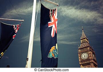 engeland, vlaggen, in de wind, voor, de big ben, londen, uk