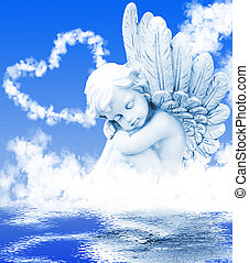 engelchen, träume, vorher, wolkenhimmel