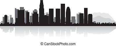 engelen, los, skyline silhouette, stad