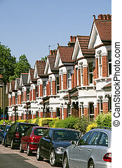 engelse , huisen, typisch, terrasvormig, london., roeien
