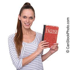 engelse , koersen, concept., mooi meisje, vasthouden, een, textbook.