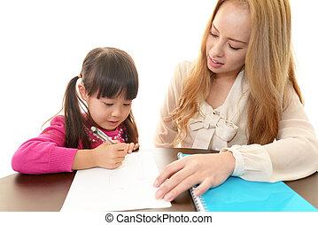 engelse , leraar, met, meisje, studying.