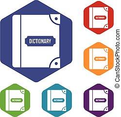 engelse , set, woordenboek, iconen