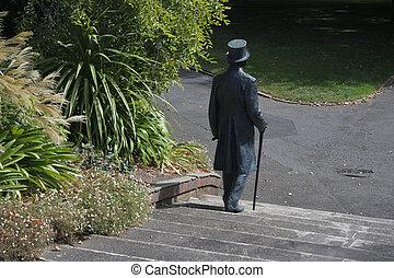 engelsk gentleman, skulptur, vandrande, in, launceston, stad...