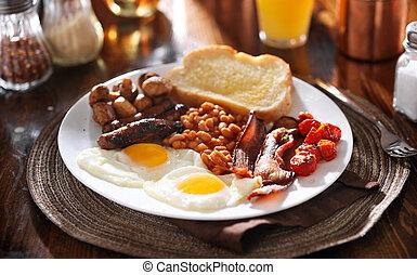 engelsk morgenmad, hos, åg, tomater, svampe, bacon, bønner,...