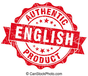 engelsk, produkt, rød grunge, frimærke