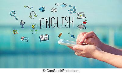 engelsk, smartphone, begrepp