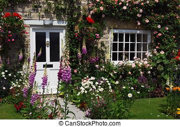 engelsk, villa trädgård