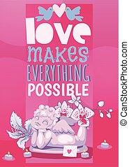 engelskt, illustration., ängel, affisch, cupid, valentinbrev, roman, vektor, staty, kärleksaffär, sculpture., dag