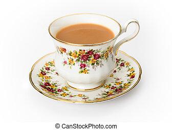 engelskt te, in, a, benporslin, kopp