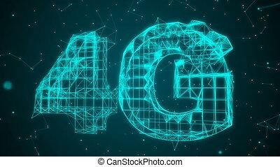 engendré, 4g, technologie, informatique, animation., connectivité